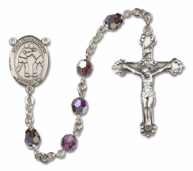 "Bliss St Christopher Wrestling Crystal Crystal Sterling, Gold-filled or 14kt Gold Rosaries ""More Options"""