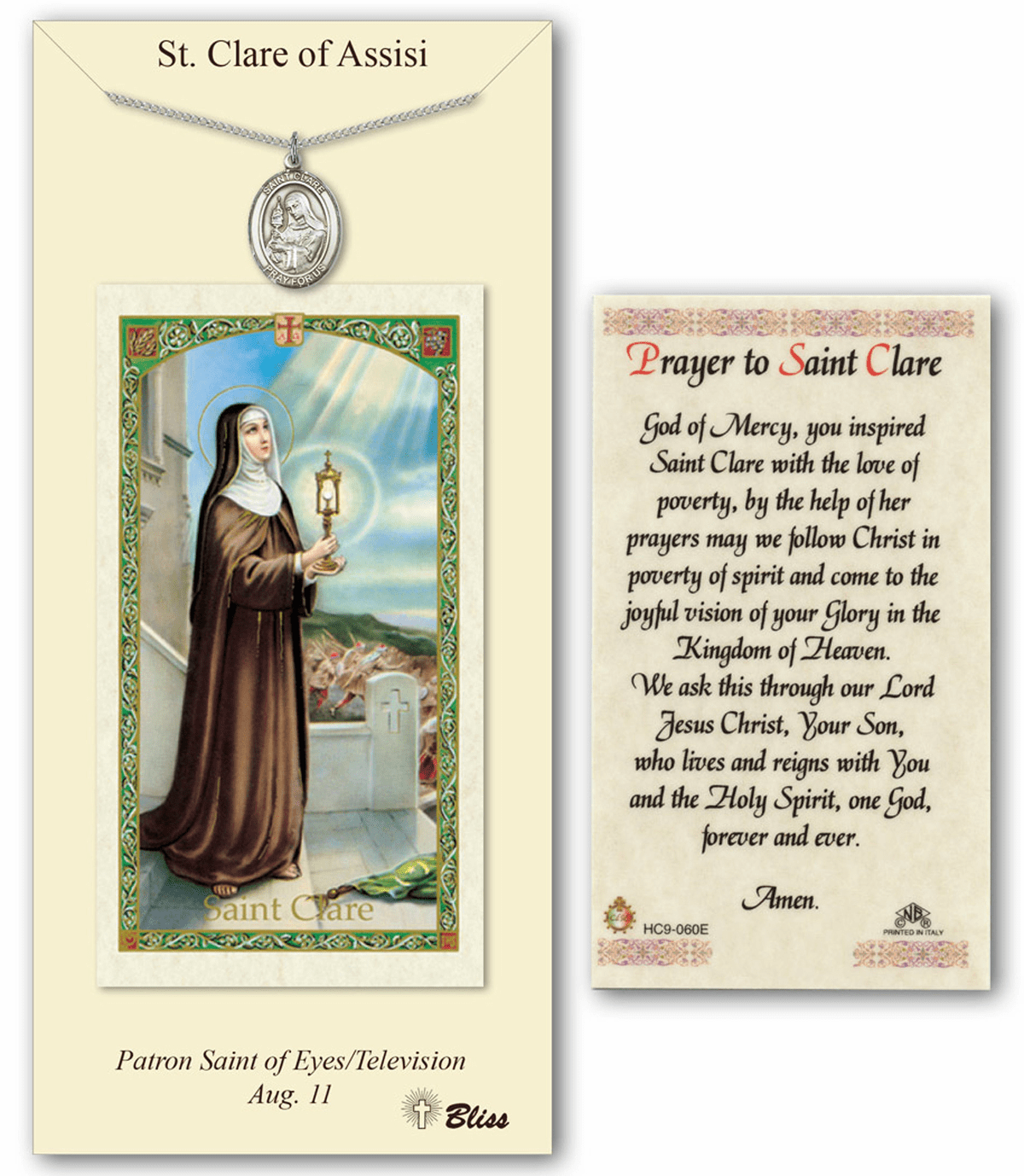 Bliss St Clare of Assisi Prayer Card & Pendant Gift Set