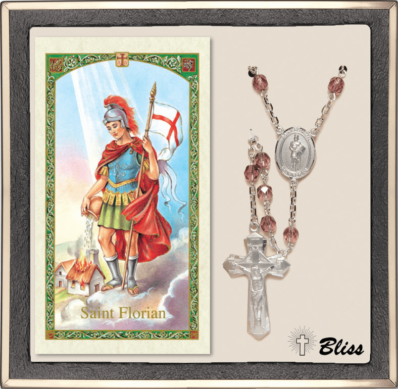 Bliss St Florian Amethyst Rosary & Fireman's Prayer Card