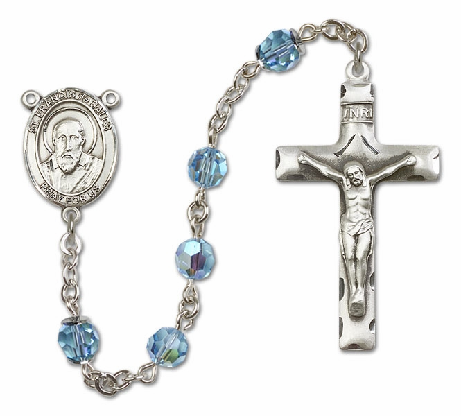Bliss St Francis de Sales Sterling, Gold-filled or 14kt Gold Aqua Crystal Rosary