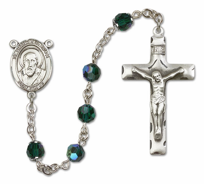 Bliss St Francis de Sales Sterling, Gold-filled or 14kt Gold Emerald Crystal Rosary
