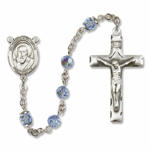 Bliss St Francis de Sales Sterling, Gold-filled or 14kt Gold Lt Sapphire Crystal Rosary
