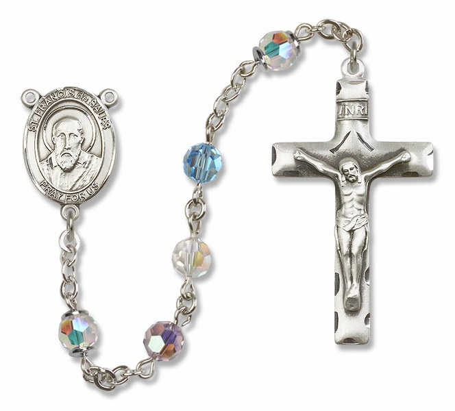 Bliss St Francis de Sales Sterling, Gold-filled or 14kt Gold Multi-Color Crystal Rosary