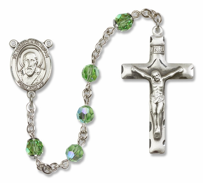 Bliss St Francis de Sales Sterling, Gold-filled or 14kt Gold Peridot Crystal Rosary