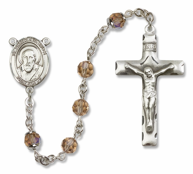 Bliss St Francis de Sales Sterling, Gold-filled or 14kt Gold Topaz Crystal Rosary