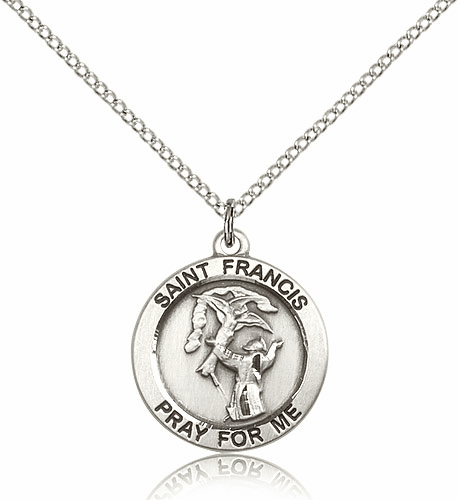 Bliss St. Francis Religious Sterling Silver Medal Necklace