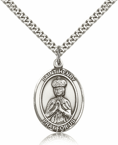 Bliss St Henry II Sterling Silver Patron Saint Medal Necklace
