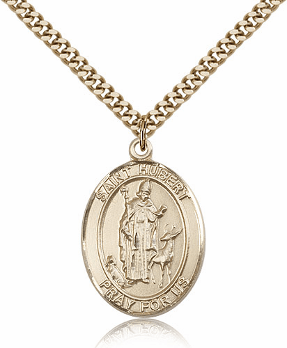 Bliss St Hubert of Liege 14kt Gold-Filled Patron Saint Medal Necklace