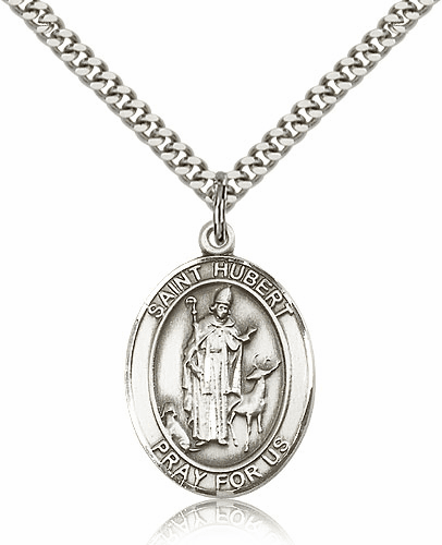 Bliss St Hubert of Liege Silver-filled Patron Saint Medal Necklace