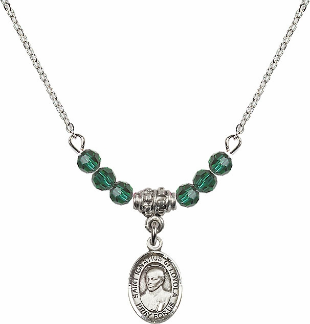 Bliss St Ignatius of Loyola Beaded Birthstone Necklace - More Colors