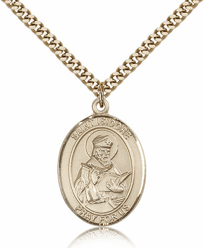 Bliss St Isidore of Seville Patron Saint 14kt Gold-Filled Medal Necklace