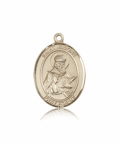 Bliss St Isidore of Seville Patron Saint 14kt Gold Medal