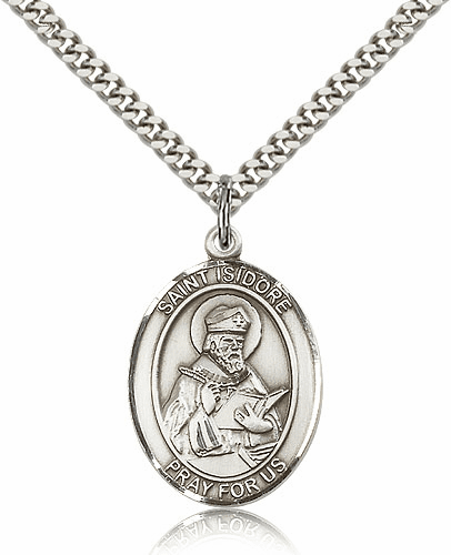 Bliss St Isidore of Seville Silver-filled Patron Saint Medal Necklace