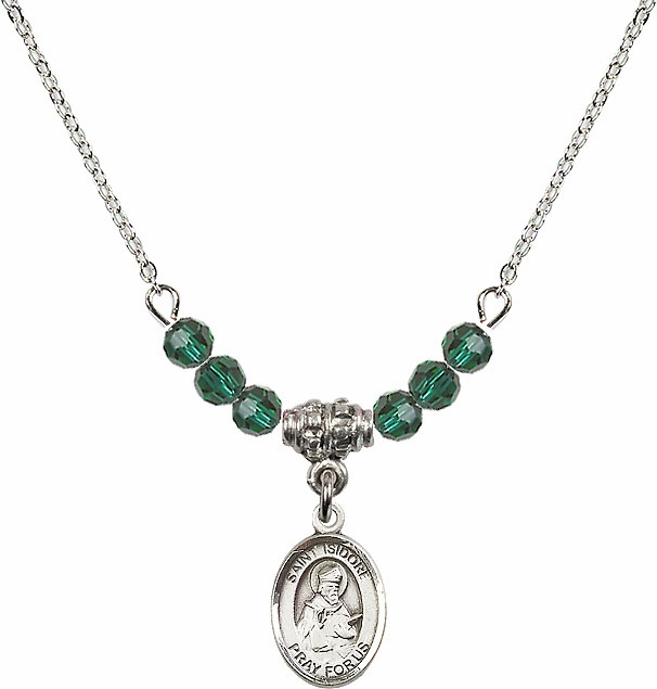 Bliss St Isidore of Seville Swarovski Beaded Birthstone Necklace - More Colors