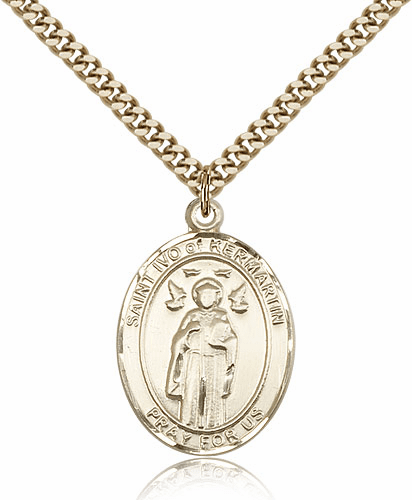 Bliss St Ivo of Kermartin Patron Saint 14kt Gold-Filled Medal Necklace