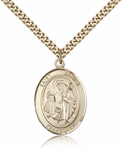 Bliss St James the Great Patron Saint 14kt Gold-Filled Medal Necklace