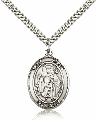 Bliss St James the Great Silver-filled Patron Saint Medal Necklace