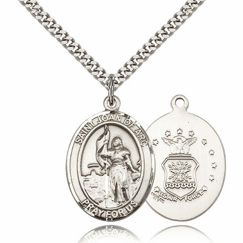 Bliss St Joan of Arc Air Force Pewter Patron Saint Medal Necklace