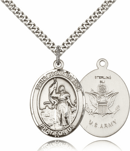 Bliss St Joan of Arc Army Pewter Patron Saint Medal Necklace