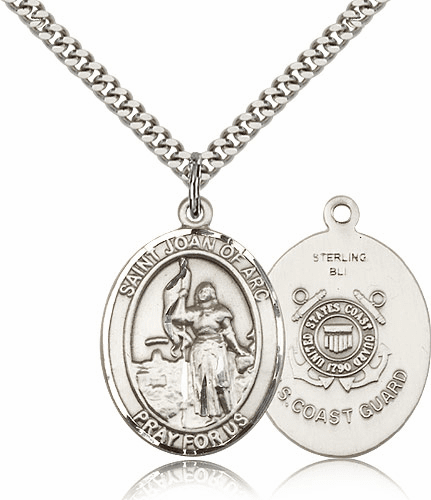 Bliss St Joan of Arc Coast Guard Pewter Patron Saint Medal Necklace