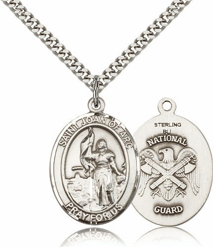 Bliss St Joan of Arc National Guard Silver-filled Patron Saint Medal Necklace