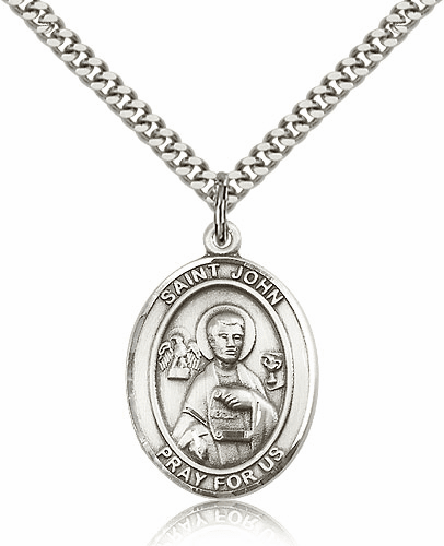 Bliss St John the Apostle and Evangelist Silver-filled Patron Saint Medal Necklace