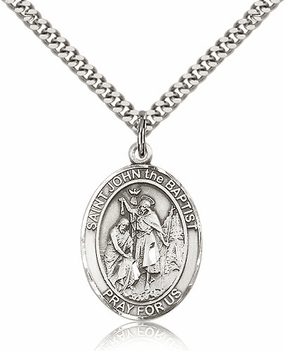 Bliss St John the Baptist Silver-filled Patron Saint Medal Necklace