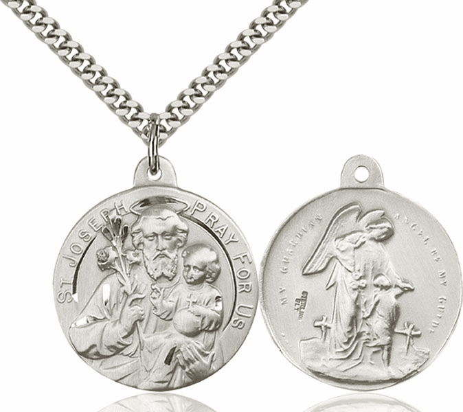 Bliss St Joseph and Guardian Angel Sterling Medal Necklace