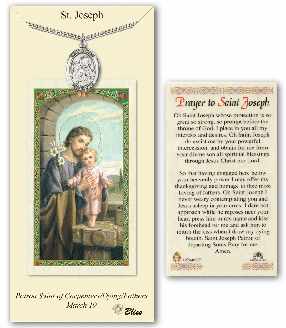 Bliss Mfg St Joseph Prayer Card & Pendant Set