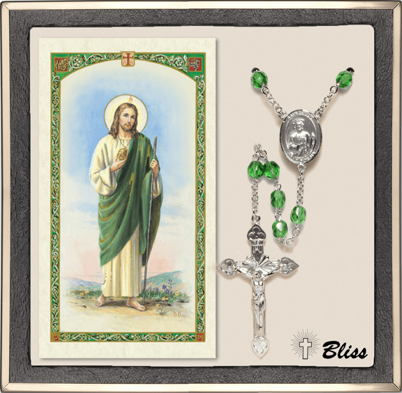 Bliss St Jude Thaddeus Silver Peridot Rosary and Prayer Card