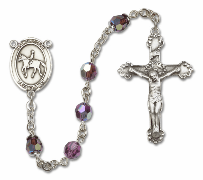 "Bliss St Kateri Equestrian Crystal Crystal Sterling, Gold-filled or 14kt Gold Rosaries ""More Options"""