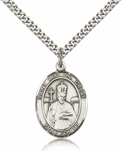 Bliss St Leo the Great Sterling Silver Saint Medal Necklace