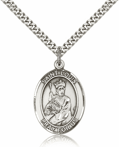 Bliss St Louis IX of France Silver-filled Patron Saint Medal Necklace