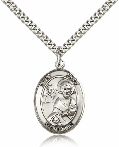Bliss St Mark the Evangelist Silver-filled Patron Saint Medal Necklace