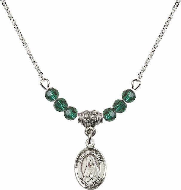 Bliss St Martha Swarovski Beaded May/Emerald Birthstone Necklace