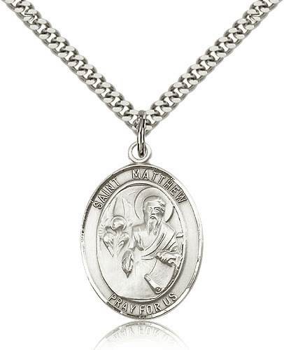 Bliss St Matthew the Apostle Silver-filled Patron Saint Medal Necklace