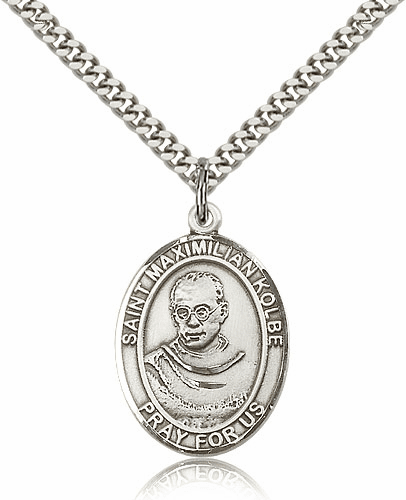Bliss St Maximilian Kolbe Pewter Patron Saint Medal Necklace