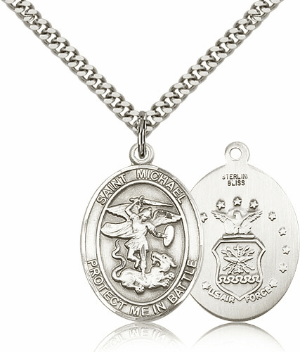 Bliss St Michael Archangel Air Force Silver-filled Patron Saint Medal Necklace Necklace