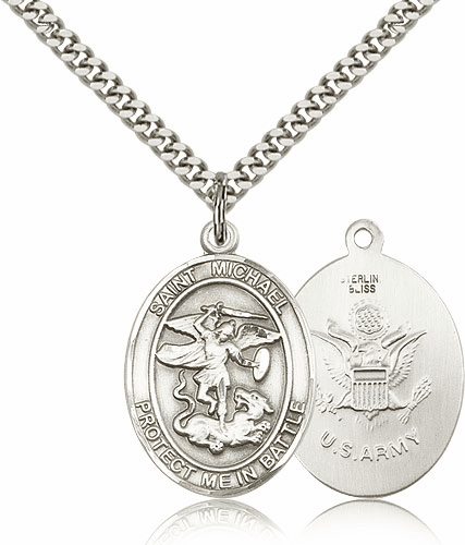 Bliss St Michael Archangel Army Silver-filled Patron Saint Medal Necklace Necklace