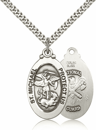 Bliss St Michael Archangel National Guard Silver-filled Patron Saint Medal Necklace Necklace