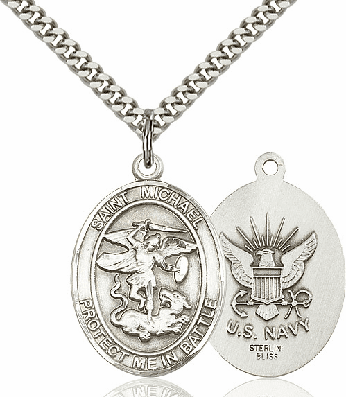 Bliss St Michael Archangel Navy Silver-filled Patron Saint Medal Necklace Necklace