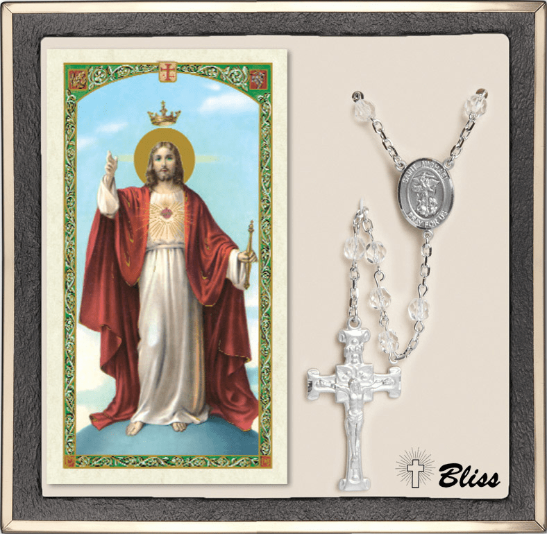 Bliss St Michael Patron Saint Military Navy Crystal Rosary