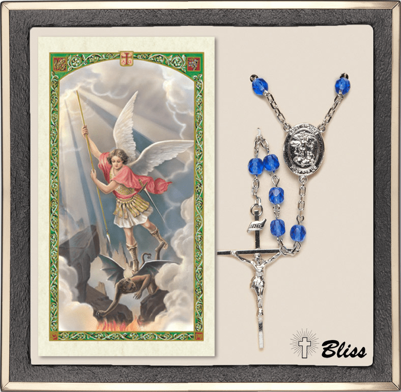 Bliss St Michael Silver Sapphire Rosary and Prayer Card