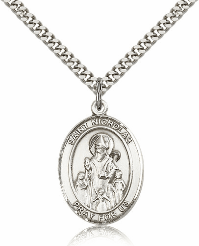 Bliss St Nicholas Pewter Patron Saint Medal Necklace