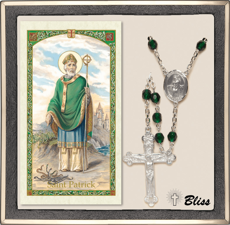 Bliss St Patrick Silver Emerald Rosary and Prayer Card