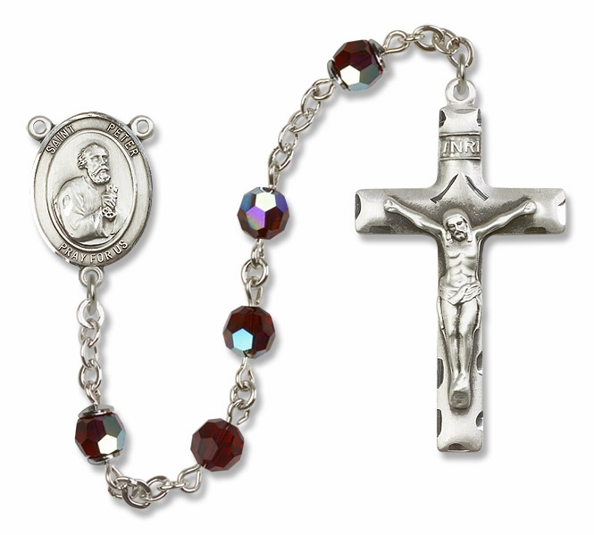 Bliss St Peter the Apostle Sterling, Gold-filled or 14kt Gold Crystal Rosary - More Colors