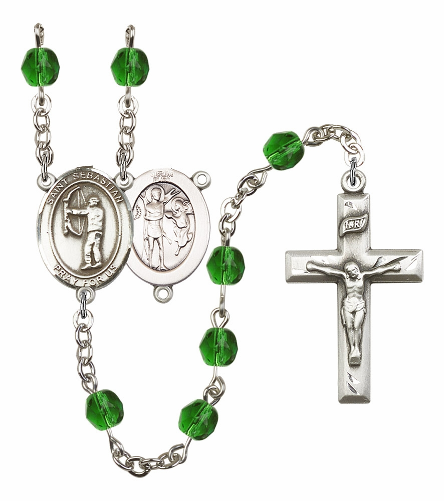 "Bliss St Sebastian Archery Athlete Birthstone Rosary ""More Colors"""