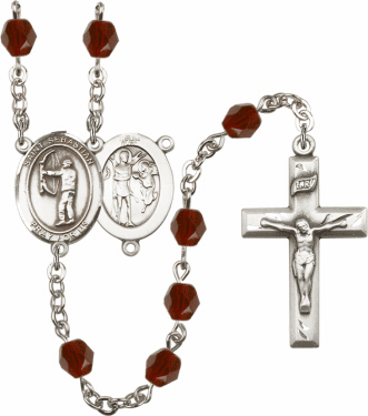 "Bliss St Sebastian Archery Athlete Silver-Plated Birthstone Rosary ""More Colors"""