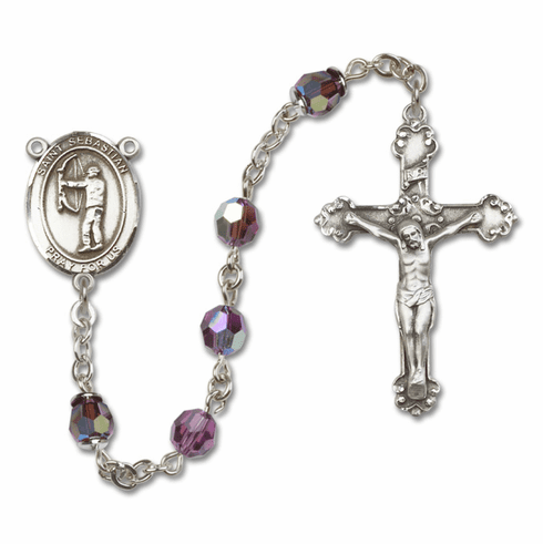 """Bliss St Sebastian Archery Crystal Crystal Sterling, Gold-filled or 14kt Gold Rosaries """"More Options"""""""