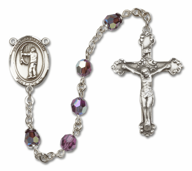 Bliss St Sebastian Archery Crystal Crystal Sterling and Gold Rosaries - More Colors